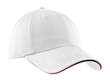 Sandwich Bill Cap With Striped Closure White with Classic Navy and Red Thumbnail