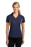 Women's Side Blocked Micropique Polo Shirt True Navy with Gold Thumbnail