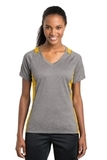 Women's Heather Colorblock Contender V-neck Tee Vintage Heather with Gold Thumbnail