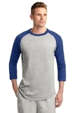 Colorblock Raglan Jersey Heather Grey with Royal Thumbnail