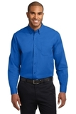 Extended Size Long Sleeve Easy Care Shirt Strong Blue Thumbnail