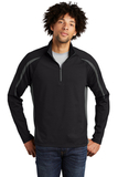Sport-wick Stretch 1/2-zip Colorblock Pullover Black with Charcoal Grey Thumbnail