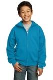 Youth Full-zip Hooded Sweatshirt Neon Blue Thumbnail