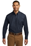 Port Authority Long Sleeve Carefree Poplin Shirt River Blue Navy Thumbnail