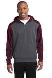 Sport-tek Colorblock Tech Fleece 1/4-zip Hooded Sweatshirt Graphite Heather with Maroon Thumbnail