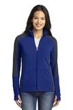Women's Colorblock Microfleece Jacket Patriot Blue with Battleship Grey Thumbnail