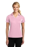 Women's Side Blocked Micropique Polo Shirt Light Pink with White Thumbnail