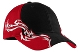 Colorblock Racing Cap With Flames Black with Red and White Thumbnail