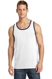 5.4 oz. 100% Cotton Tank Top White with Navy Thumbnail