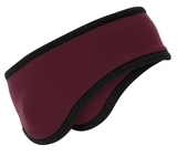 Two-color Fleece Headband Maroon Thumbnail