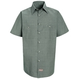 Short Sleeve Industrial Work Shirt With Stripe Hunter Khaki Check Thumbnail