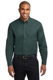 Long Sleeve Easy Care Shirt Dark Green with Navy Thumbnail
