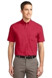 Tall Short Sleeve Easy Care Shirt Red with Light Stone Thumbnail