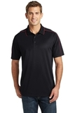 Micropique Sport-wick Piped Polo Black with True Red Thumbnail
