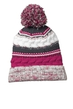 Pom Pom Team Beanie Pink Raspberry with Iron Grey and White Thumbnail