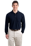 Silk Touch Long Sleeve Polo Shirt With Pocket Navy Thumbnail