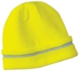Safety Beanie With Reflective Stripe Safety Yellow with Reflective Thumbnail