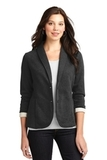 Women's Fleece Casual Blazer Dark Charcoal Heather Thumbnail