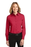 Women's Long Sleeve Easy Care Shirt Red with Light Stone Thumbnail
