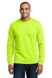 Long Sleeve 50/50 Cotton / Poly T-shirt Safety Green Thumbnail