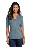 Women's Stretch Heather Open Neck Top Regatta Blue with Gusty Grey Thumbnail