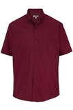 Men's Easy Care Poplin Shirt SS Burgundy Thumbnail