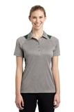 Women's Heather Colorblock Contender Polo Vintage Heather with Forest Green Thumbnail