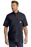 Carhartt Force Ridgefield Solid Short Sleeve Shirt Navy Thumbnail