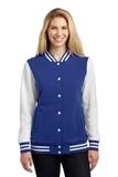 Women's Fleece Letterman Jacket True Royal with White Thumbnail