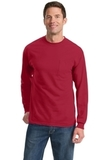 100 Cotton Long Sleeve T-shirt With Pocket Red Thumbnail