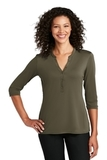 Ladies UV Choice Pique Henley Deep Olive Thumbnail