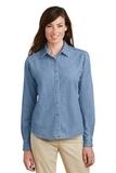 Women's Long Sleeve Value Denim Shirt Faded Blue Thumbnail