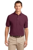 Tall Silk Touch Polo Shirt With Pocket Burgundy Thumbnail