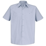 Short Sleeve Industrial Work Shirt With Stripe Light Blue Navy Stripe Thumbnail