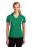 Women's Side Blocked Micropique Polo Shirt Kelly Green with White Thumbnail