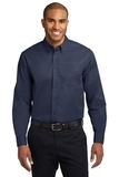 Long Sleeve Easy Care Shirt Navy with Light Stone Thumbnail