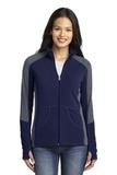 Women's Colorblock Microfleece Jacket True Navy with Pearl Grey Thumbnail