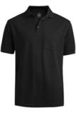Unisex Short Sleeve All Cotton Pocket Pique Polo Black Thumbnail
