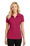 Women's Pinpoint Mesh Zip Polo Dark Fuchsia Thumbnail