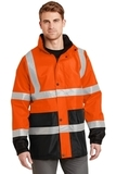 Ansi Class 3 Waterproof Parka Safety Orange with Black Thumbnail