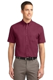 Tall Short Sleeve Easy Care Shirt Burgundy with Light Stone Thumbnail