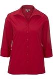 Women's Easy Care Poplin Shirt 3/4 Sleeve Red Thumbnail