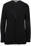 Women's Full Zip V-Neck Sweater Black Thumbnail