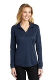 Women's Silk Touch Performance Long Sleeve Polo Navy Thumbnail