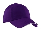 Sandwich Bill Cap With Striped Closure Purple with White Thumbnail
