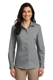 Women's Long Sleeve Carefree Poplin Shirt Gusty Grey Thumbnail