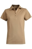 Women's Short Sleeve Blended Pique Polo Tan Thumbnail