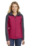 Women's Hooded Core Soft Shell Jacket Dark Fuchsia with Battleship Grey Thumbnail