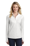 Women's Sport-Wick Stretch Reflective Heather 1/2-Zip Pullover White Thumbnail