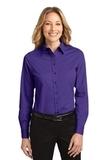 Women's Long Sleeve Easy Care Shirt Purple with Light Stone Thumbnail